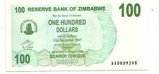 Zimbabwe 100 dollars 2006 bearer cheque   FDS  UNC    pick 42    lotto 3609
