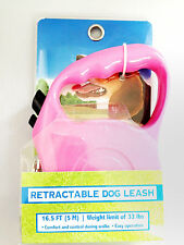 Pink Training Dog Puppy Walking Lead Retractable Leash 16.5FT 5M
