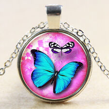 Vintage Butterfly Cabochon Silver plated Glass Chain Pendant Necklace M#22