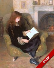 YOUNG GIRL READING IN A CHAIR BY THE FIRE OIL PAINTING ART REAL CANVAS PRINT