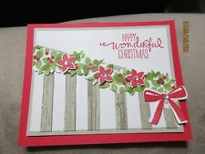 Handmade Christmas Greeting Card Stairs with Garland- using Stampin Up prod