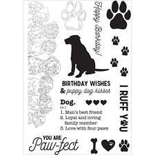 DOG Pawfect Collection Clear Unmounted Rubber Stamp Set Kaisercraft CS283 New