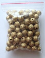 100 pcs Spacer Glitter Beads Round Copper 8mm Bead Jewelry Making Gold 61G