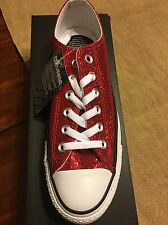 Converse All Star Red Sparkle Glitter Gym Shoes 9 NEW! Valentines Day!