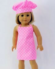 """Lovvbugg Pink Dots Chef Cook Apron Set for 18"""" American Girl Doll Clothes Cute!"""