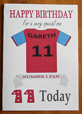 WEST HAM FAN Unofficial PERSONALISED Football Birthday Card Claret & Blue Shirt