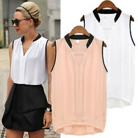 Women Ladies Summer Casual Sleeveless Chiffon Tee Vest T Shirt Blouse Loose Tops