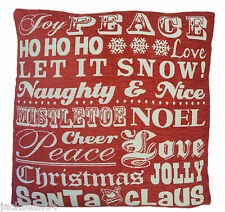 """FILLED CHRISTMAS SONGS WORDS TAPESTRY CHENILLE RED WHITE THICK CUSHION 18"""""""