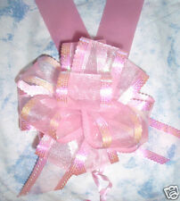 6m PINK WEDDING CAR RIBBON & 1 LARGE 50MM ORGANZA PULL BOWS BABY PINK
