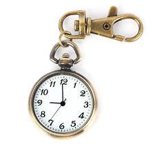 Bronze Farbe Rund Anhänger Quarz Uhr Taschenuhr Schlüsselring Damen Kinde J5