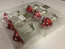 Christmas Decoration -Boxed 6 Clip on Real glass mushroom Baubles ornament