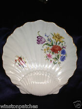 "ROYAL WORCESTER 8.75"" SEA SHELL SHAPED DISH 2 OFFSET FLORAL SPRAYS FLOWERS GOLD"