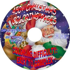 MERRY CHRISTMAS-450+ COLORING PAGES ON CD - PDF FORMAT-SIMPLE TO COMPLEX