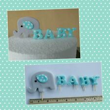 New ELEPHANT BABY Letters  Edible Cake Cupcake Topper Birthday  7cm blue