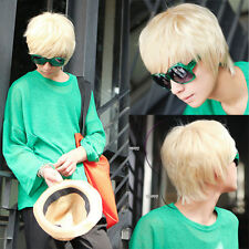 Korean Style Men Wig Blonde Short Straight Boy Fashion Cosplay Man Full Wigs
