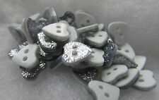 Pack of 10 10mm Silver Glitter Heart Buttons 2 Hole