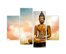 "EXTRA LARGE CANVAS PRINTS BUDDHA MEDITATING CLOUDS 4 PANEL 35""(90cm) XXL PHOTO"