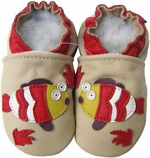 carozoo fish cream 3-4y soft sole leather toddler shoes