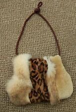 NWT Unique Fox, Rabbit, Sheared Beaver, and Mink Fur Muff/Purse