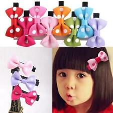 10pcs Girls Hair Clips Baby Kids Hair Pin Ribbon Bow Hair Accessories NEW