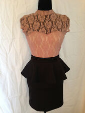 Charlotte Russe nude lace top dress open back black ruffle pencil skirt small