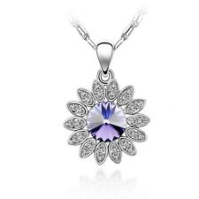 GORGEOUS 18K WHITE GOLD PLATED GENUINE PURPLE SWAROVSKI CRYSTAL NECKLACE