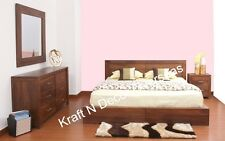 KraftNDecor Contemporary Wooden Double Beds in Brown Colour