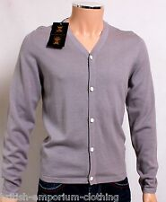 BNWT Holland Esquire Grey COTTON & SILK V Neck Cardigan Jumper Sweater SMALL