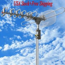 HDTV Digital Outdoor Antenna TV 360° UHF/VHF/FM 150 Miles Amplified Rotating LED