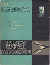 1961 PLYMOUTH SERVICE SHOP MANUAL SAVOY BELVEDERE FURY  SUPPLEMENT