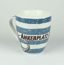 """Maritimer Becher """"Ankerplatz"""" Anker gestreift Tasse Kaffee Becher Andenken"""
