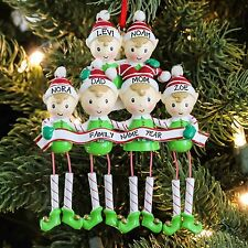 PolarX Dangling Elf Family of Six Personalized Christmas Tree Ornament