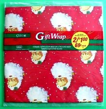 VINTAGE CHRISTMAS SANTA HEAD GIFT WRAP SEALED 2 SHEETS PACKAGE CLEO