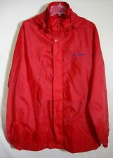 Speedo Red Nylon Windbreaker Hoodie Zip Front Mesh Lined Raincoat Men Medium M