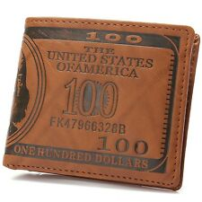 OURBAG Mens US $100 Dollar Bill Leather Bifold Card Holder Wallet Handbag Pur...
