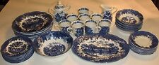 J&G MEAKIN ROMANTIC ENGLAND BLUE IRONSTONE DINNERWARE SET - 45 Pieces