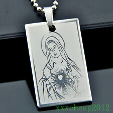 Classic Stainless Steel Virgin Mary Pendant Necklace ST68