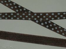 "polka dot grosgrain ribbon fabric polyester made in USA 100 yds x3/8"" seal brown"