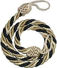 STUNNING SILKY TWISTED ROPE CURTAIN TIE BACKS, X2, VARIOUS COLS, ART 1085.D