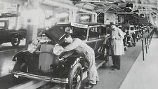 "12 By 18"" Black & White Picture 1932 Ford - assembly line, finished 2-door sedan"