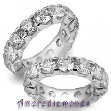 7.00 ct G I1 round ideal cut diamond eternity wedding ring solid 18k white gold