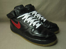 NIKE AIR FORCE 1 MID Black/Red-Gum Hi-Top Leather Trainers UK Size 7.5/ EU 42