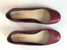 Prada Burgundy Leather Studded Ballet Flats Size 38
