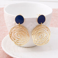 Elegant Women Big Rose Hollow Alloy Gold Plated Ear Stud Dangle Earrings Jewelry