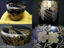 JAPANESE LACQUER WOODEN TEA CADDY PEARL BUSH MAKIE BLACK CHU-NATSUME (1222)