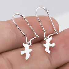 925. Sterling Silver SWALLOW BIRD /Doves Peace Bird Dangle Drop Earrings