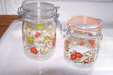 Vintage Set of 2 ARC France Glass Bailing Canister Veggies Jars