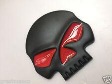 Matte Black Red Eyes Skull 3D Metal For Harley Davidson Logo Emblem Badge Decals