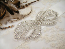 Vintage Crystal Bridal Sash Rhinestone Wedding Belt Accessory Any Colour Ribbon
