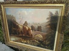 Antique Oil Canvas Painting Landscape w Castle  Europe Victorian Original